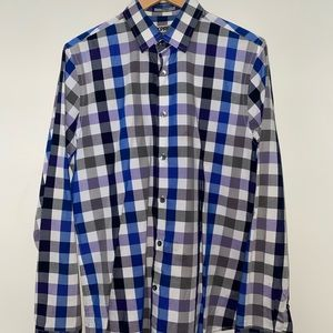Blue and Purple Checkered Fitted Dress Shirt